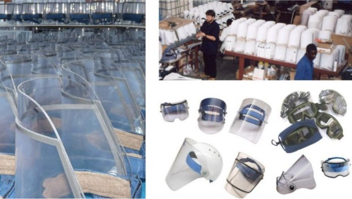 Picture of AVS face protection and the workshop in which they were made